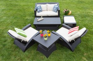 5 Benefits Of Reclining Garden Furniture. Cozy dark rattan furniture with a sofa and the table, and soft pillows