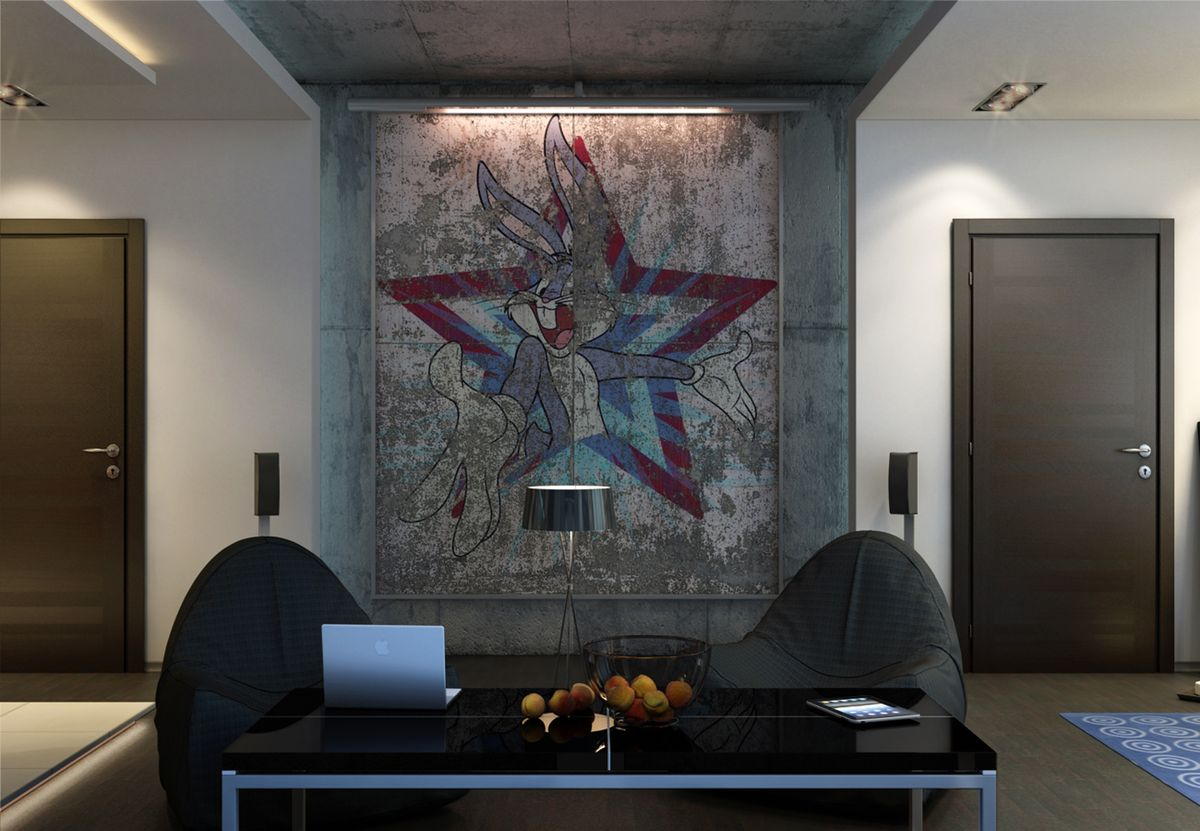 Urban Style Interior Design: The Essence of Big City at Home. A worn out pop art picture at the wall for masculine living room interior