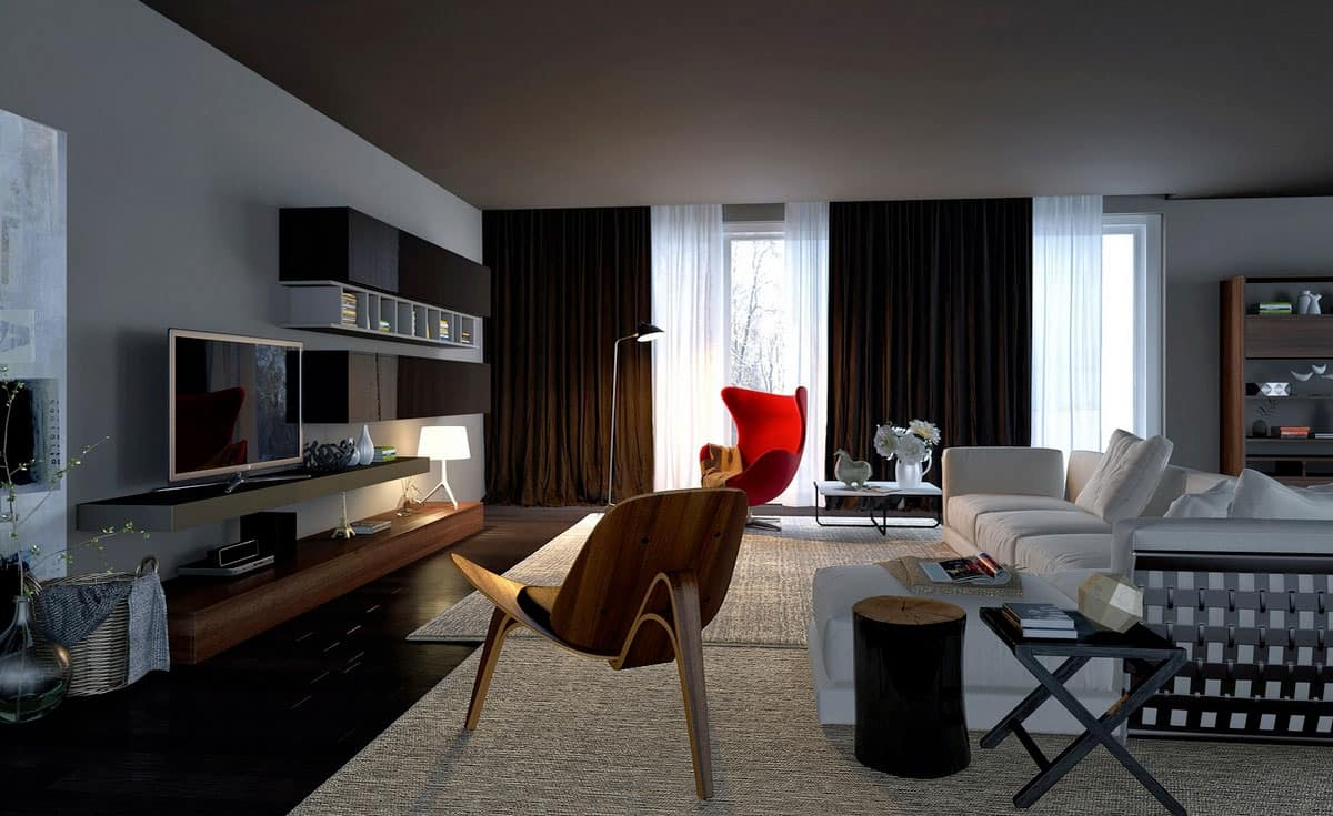 Urban Style Interior Design: The Essence of Big City at Home. Restrained styling and color palette for the living room with accent red leisure chair