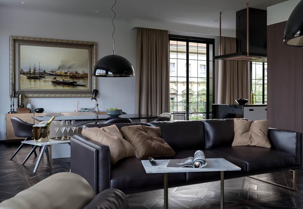Dark lampshade and sofa in the brownish and white casual living room