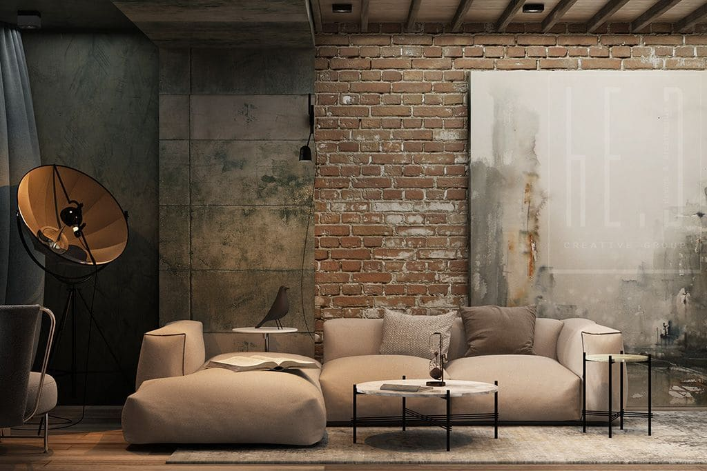 Platform angle sofa of plump upholstered modules, minimalistic coffee table on black legs and rough treated brickwork intermingled with concrete in the living room