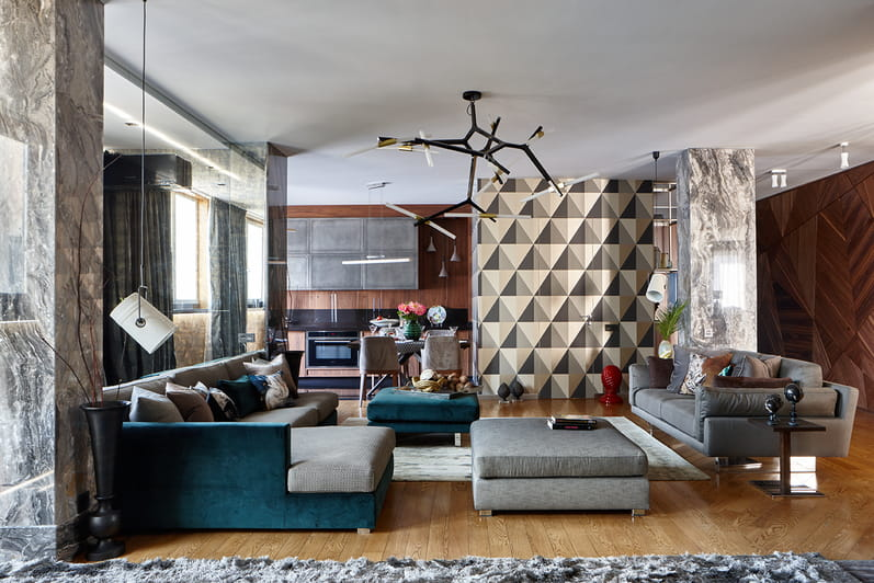 Non-ideal color scheme creates somehow messy look in the urban styled living room with emerald sofa and 3D picture on the zoning wall