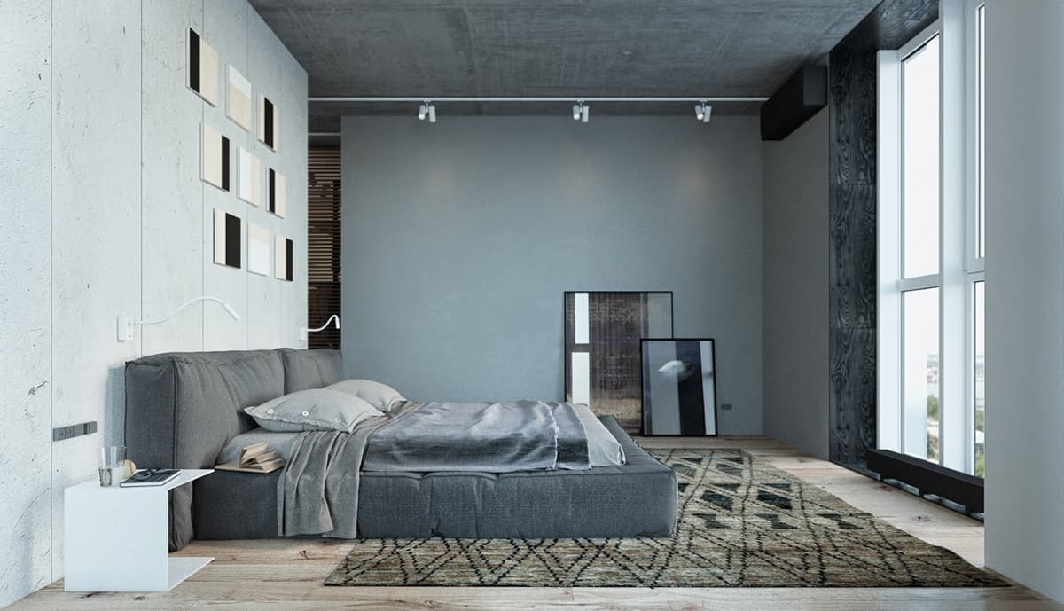 Dark gray concrete imitation for the walls and platform bed for maximum masculinity in the urbanistic bedroom
