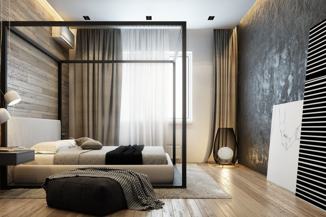 The black canopy frame for king-size bed, brown accent wall textured putty finish and heavy blackout curtains