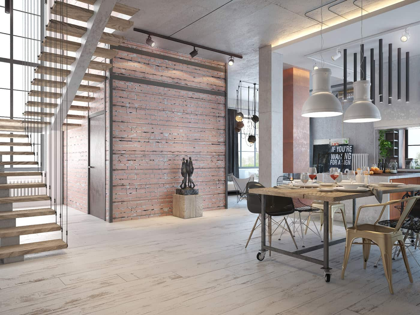 Nice wooden trimmed accent wall idea for urban style dining room area in well-lit open layout apartment with light wooden laminated floor