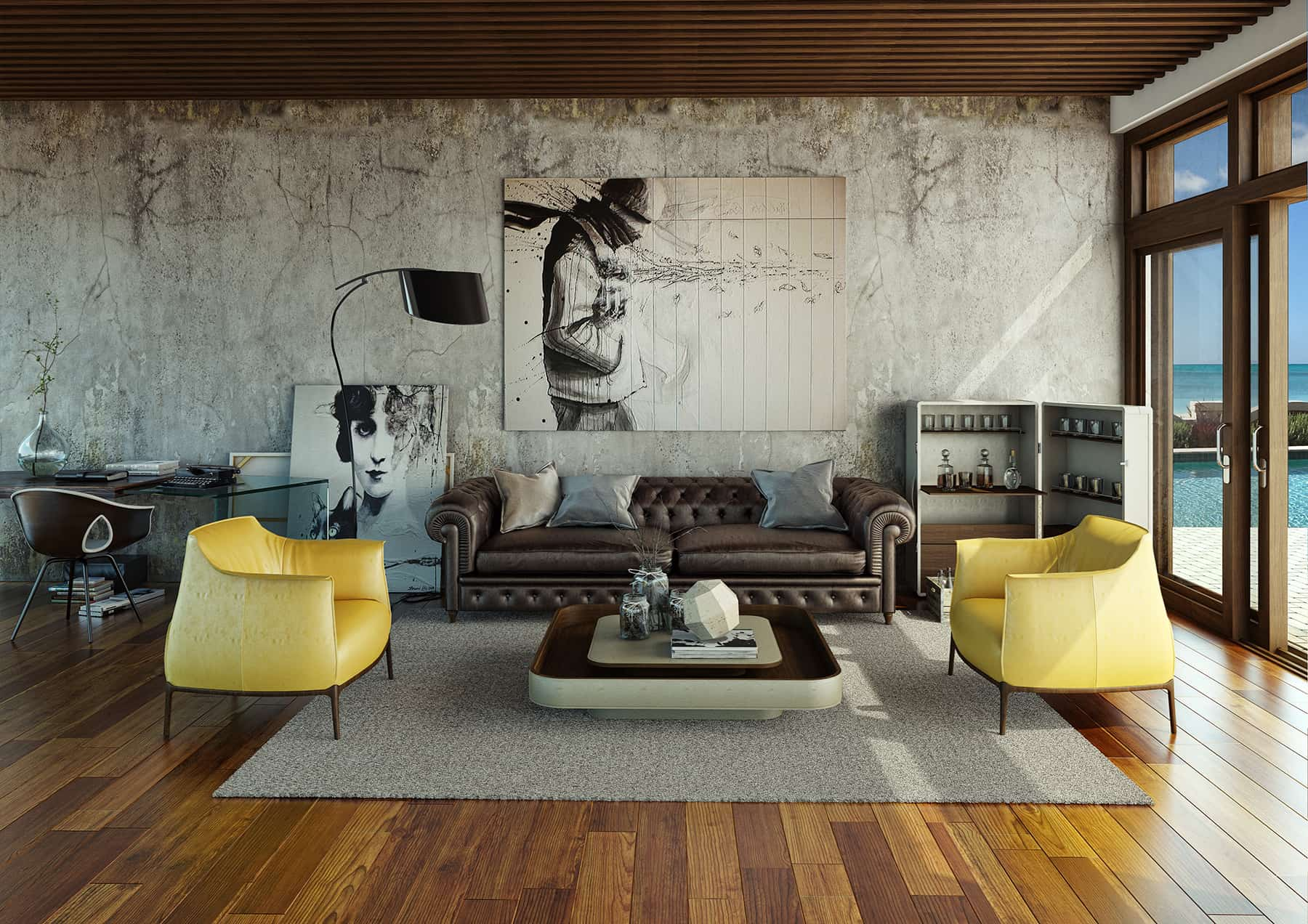 Ascetic yet sturated with style interior featuring yellow armchairs and picture at the wall