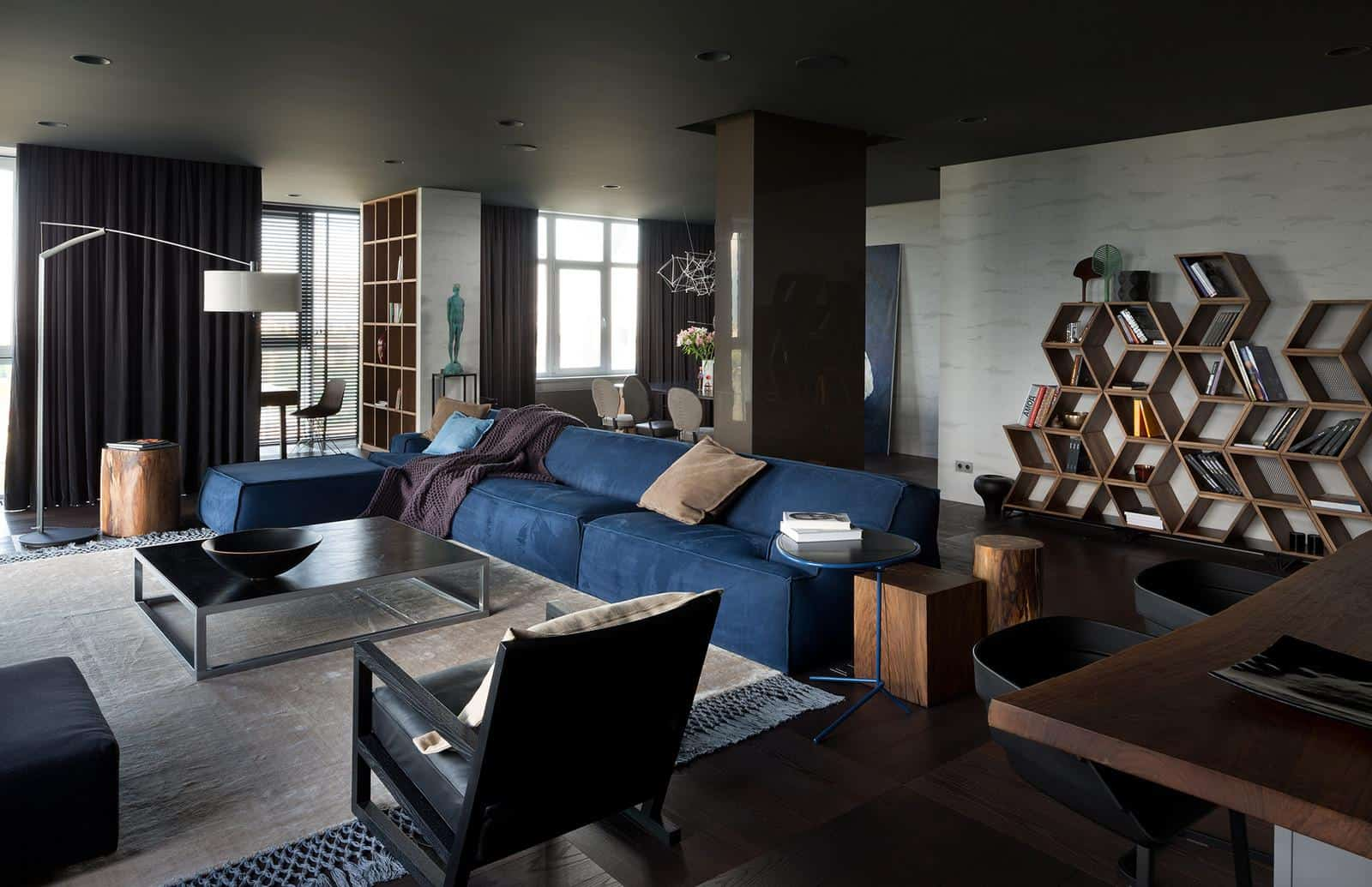 Dark brown and gray colo scheme for modern urbanistic open layour studio apartment