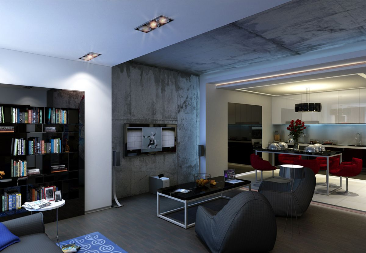 Intensionally rough treated and artificially aged faux concrete wall for TV