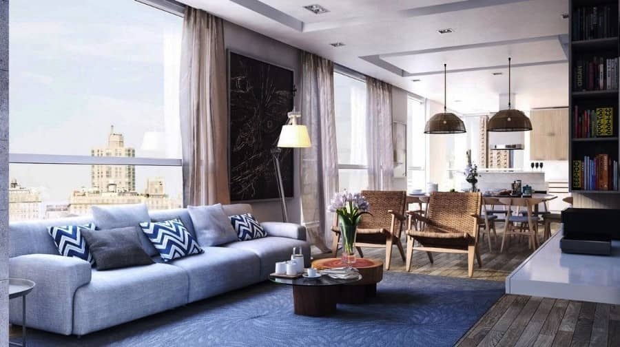 Urban Style Interior Design: The Essence of Big City at Home. Large open layout apartment with pastel and gray colors