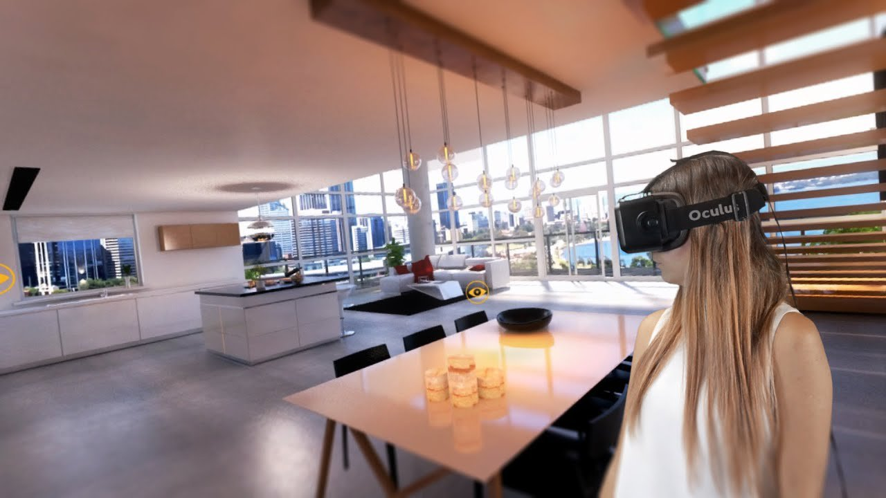Virtual and Augmented Reality Interior Design. Open layout apartment in minimalistic high- tech style