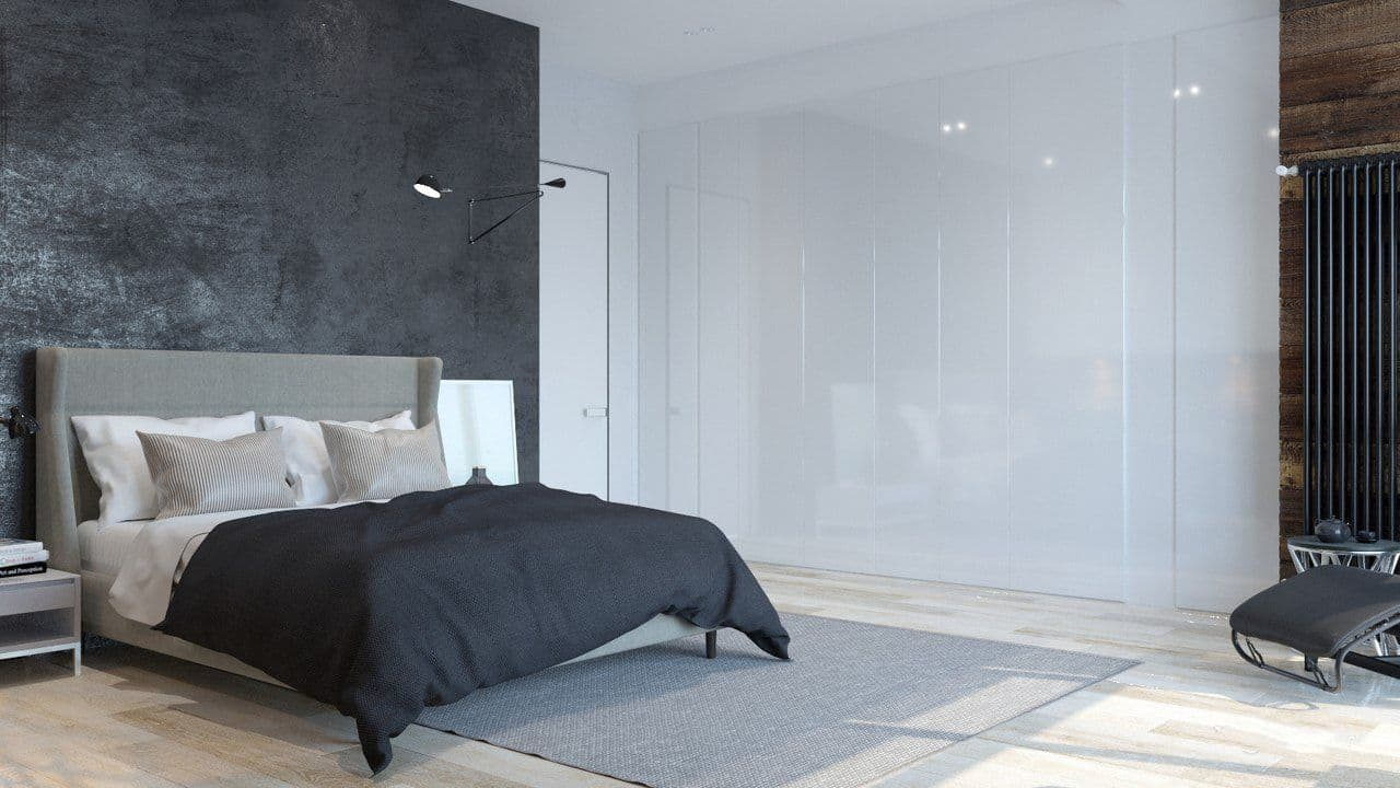 Can't Decide on an Aesthetic for Your Man Cave. Large minimalistic room with dark bedding and glass wall