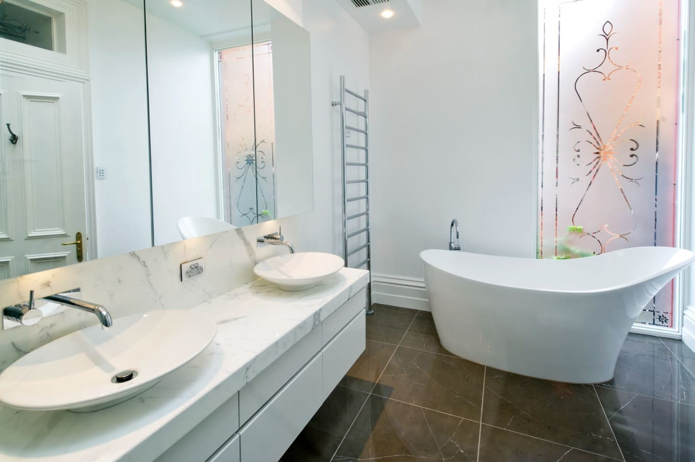 White walls and furniture for contemporary designed bathroom