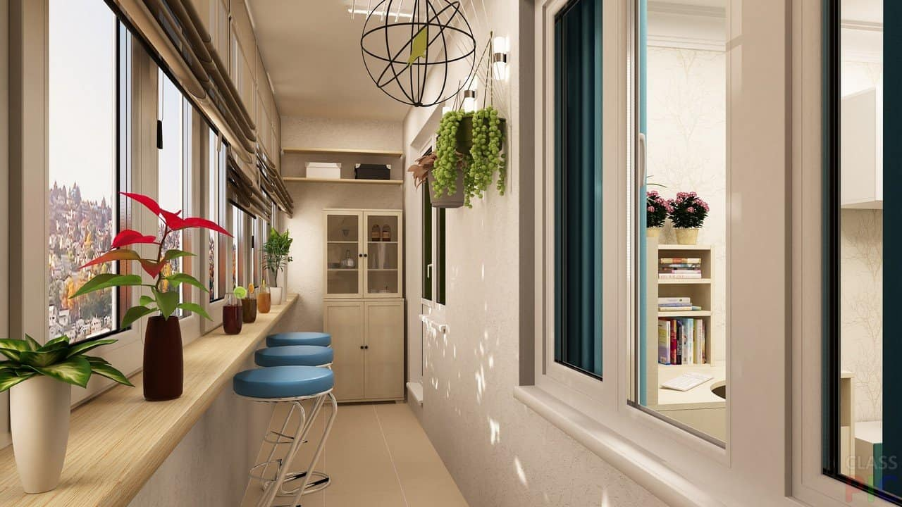 5 Uses for Your Balcony: Fresh Design Ideas. Contemporary styled space in neutral palette with blue bar stools at the window