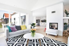 How to Create a Theme in Your Home. Great living room in casual/Scandinavian style with black and white rug and the the fireplace