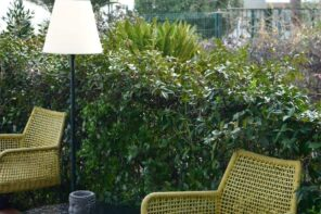 Tips to Increase the Longevity of Your Outdoor Furniture. Nice green rattan woven chairs at the wall of trimmed shrub outdoor