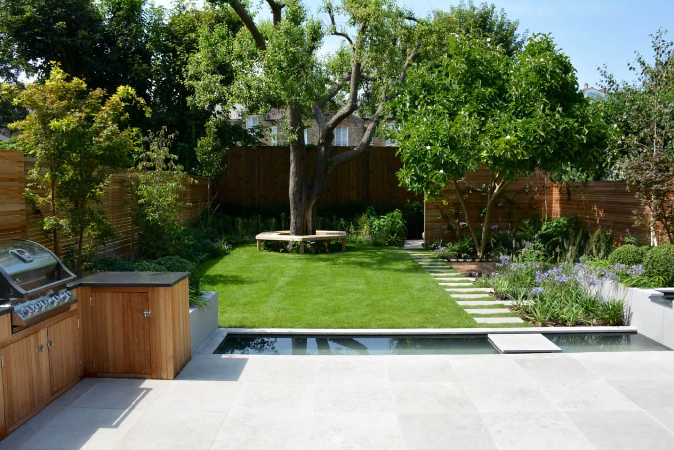 Designing the Perfect Garden For Your Retirement. Artificial grass and concrete poured zone for BBQ
