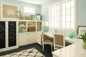 10 Ways to Give a Facelift to Your Home Office. Turquoise wallpaper for classic decorated room with pattern floor tile