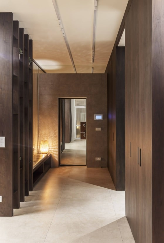 Modern Smart Home Design with Surveillance Cameras. Great interior design with brown wooden panels for walls and Armstrong ceiling
