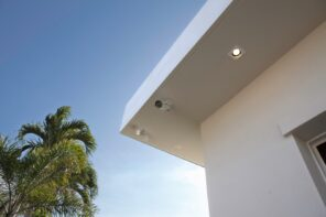 Outdoor surveillance cameras at the roof
