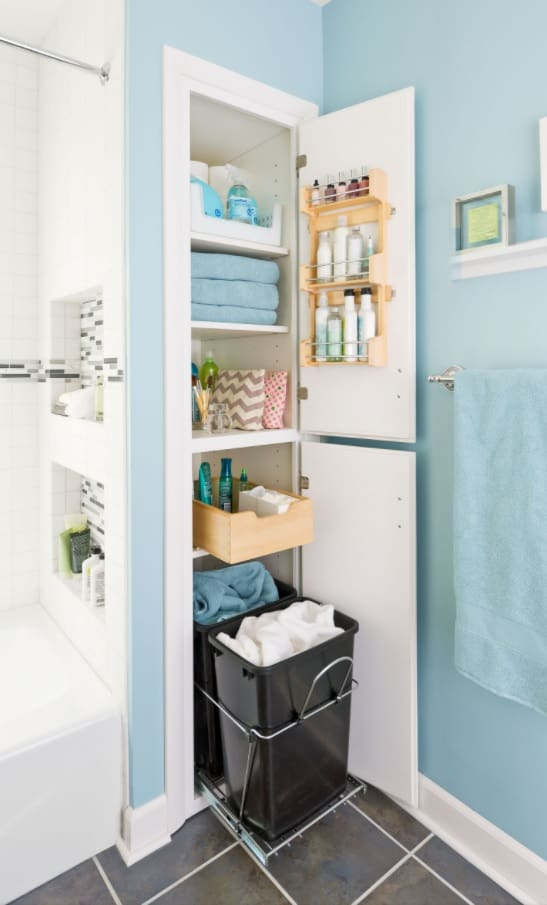 Bathroom Necessities_ 9 Things You Need to Have in Your Bathroom. Storage cabinet for the white and blue painted space