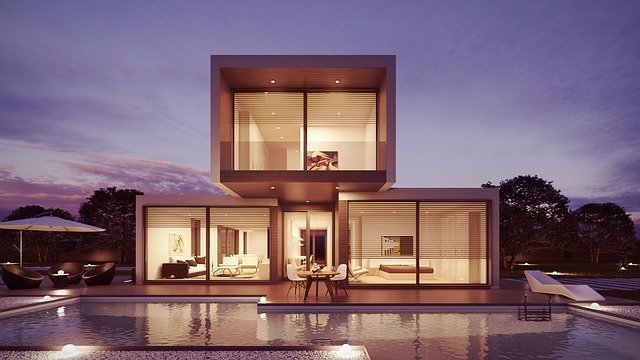 Designing Tips From The Pros To Make Your House Outstanding. Module house in monumentalistic style in front of the pool
