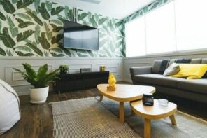 How To Upgrade Your Home Decor And Furniture While On A Budget. Colorful ecodesign wallpaper, two-tier coffee table for casual designed living room