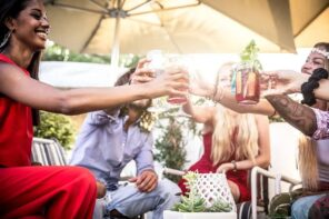 Design Ideas for Your Next Event Your Attendees Won't Soon Forget. Drinking the beverages in the company under the parasol