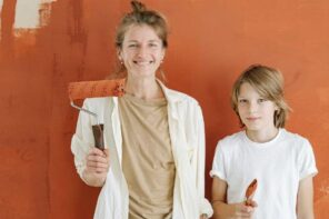 Mom and son working on a Home improvement project