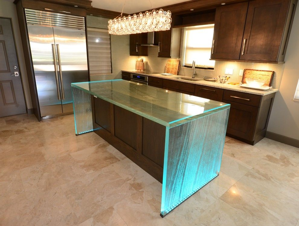 Kitchen Countertop Types, Design Options, and Usage Parameters. Glass made kitchen island as if a piece of ice