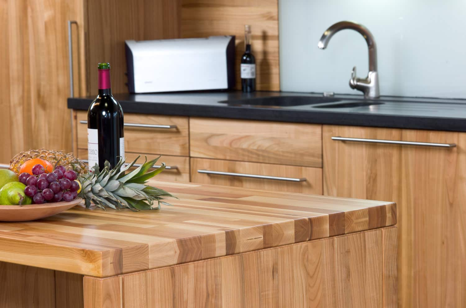 Wooden furniture and black laminated countertop