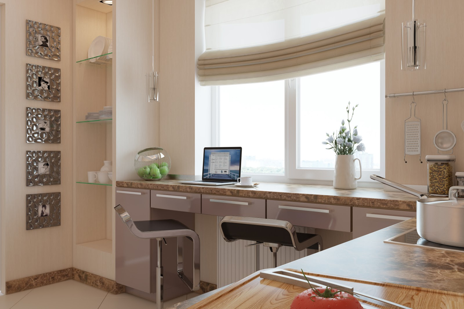 Functional windowsill in modern style with shallow bar stools