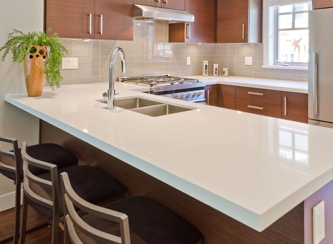 Kitchen Countertop Types, Design Options, and Usage Parameters. Totally white glossy countertop