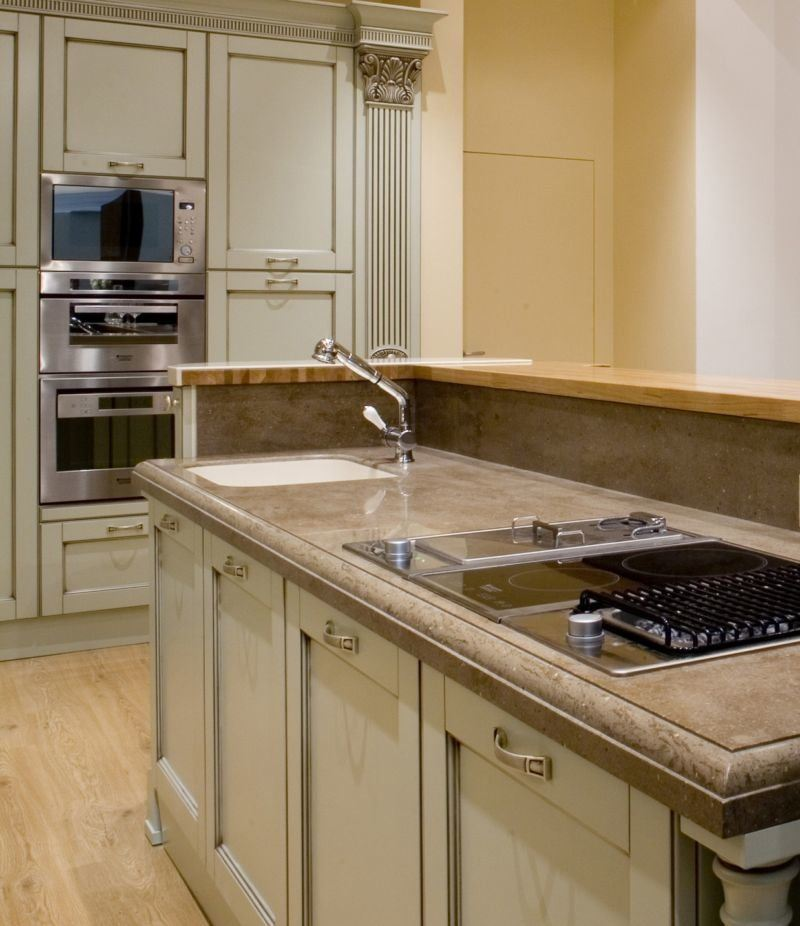 Classic facaded kitchen with brown tints color palette with functional countertop