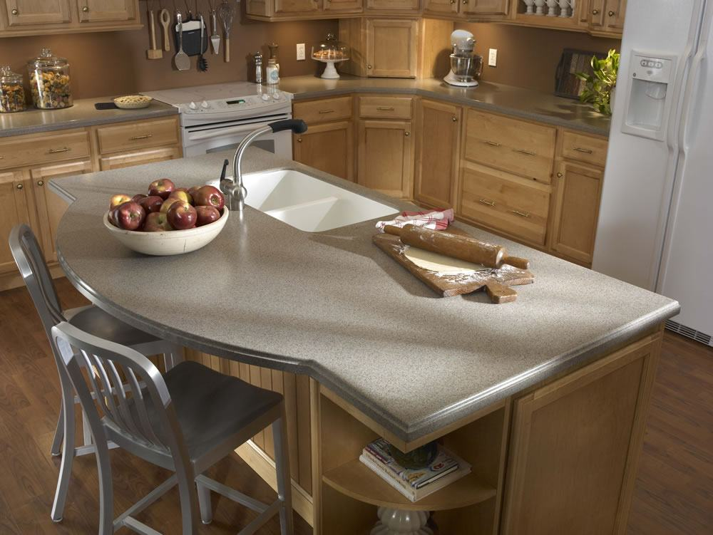 Gray colored top for kitchen island