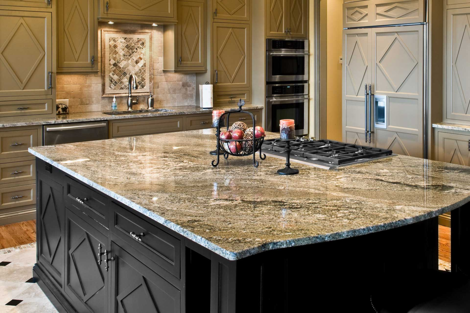 Marble plate top over the kitchen island