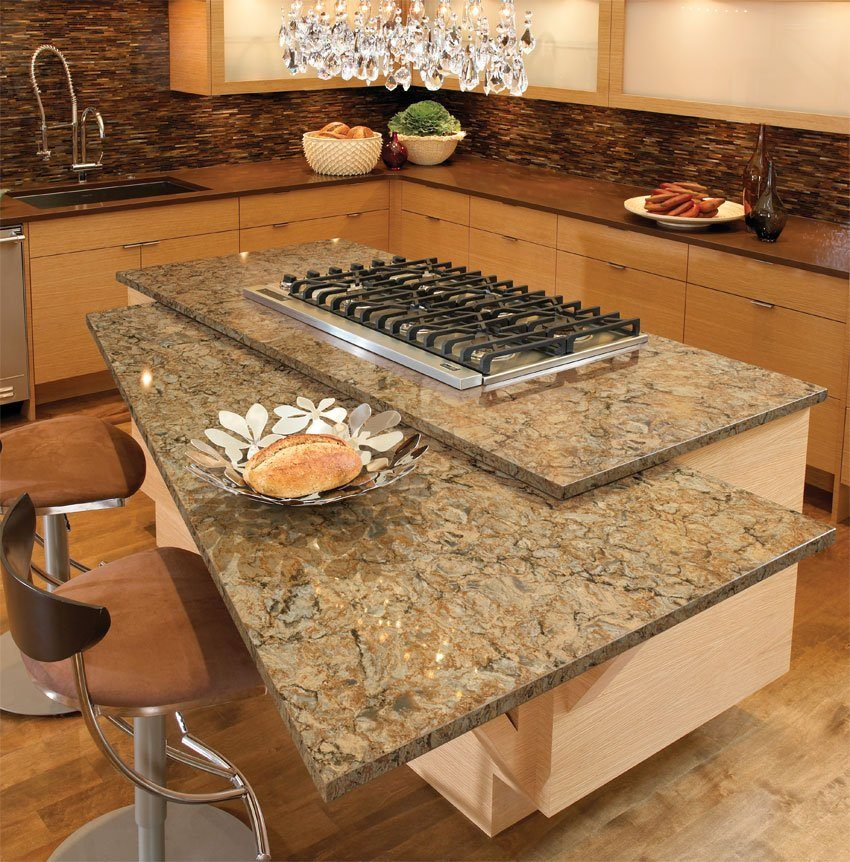 Two-level marble top for comfy kitchen in brown colors