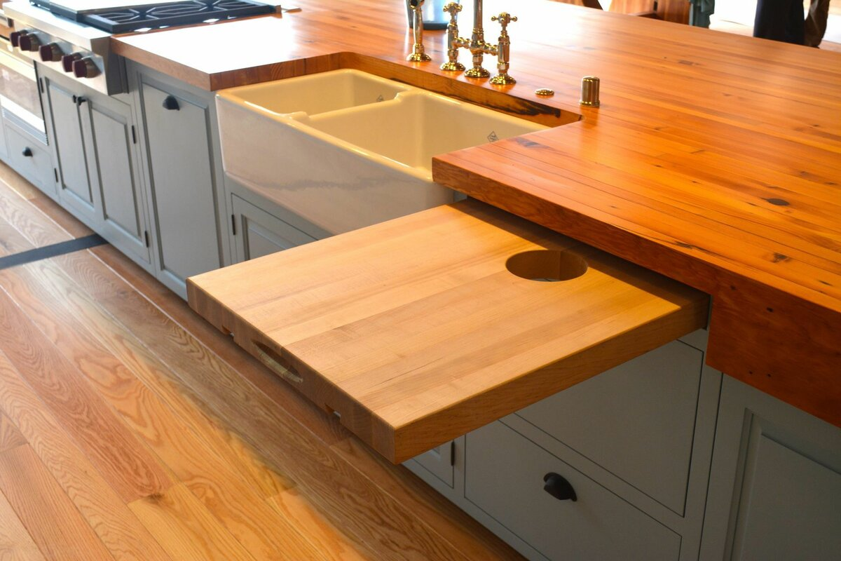 Kitchen Countertop Types, Design Options, and Usage Parameters. Pullout additional worktop near the mortise sink