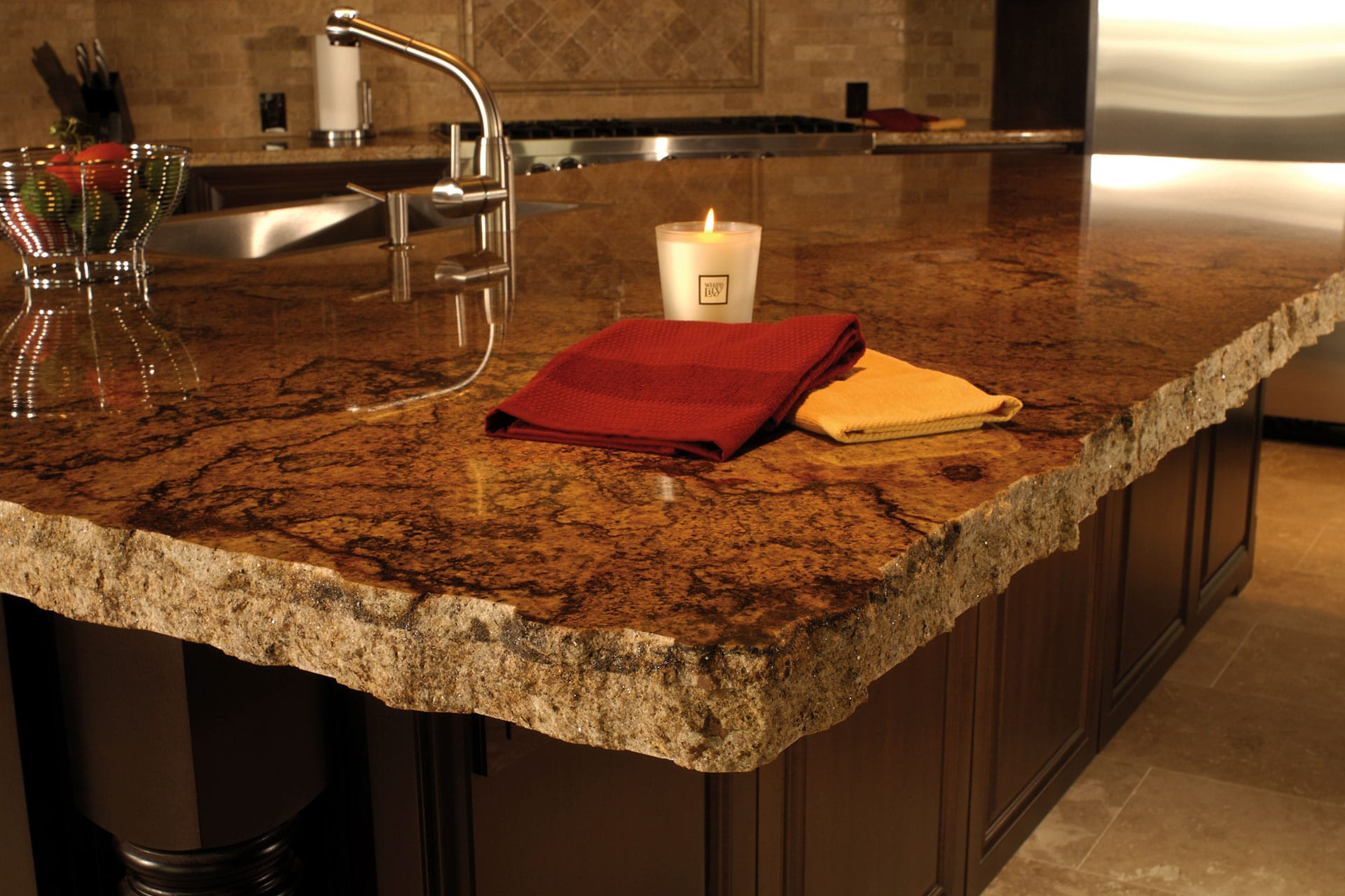 Kitchen Countertop Types, Design Options, and Usage Parameters. Ragged edges of the classic styled glossy granite countertop