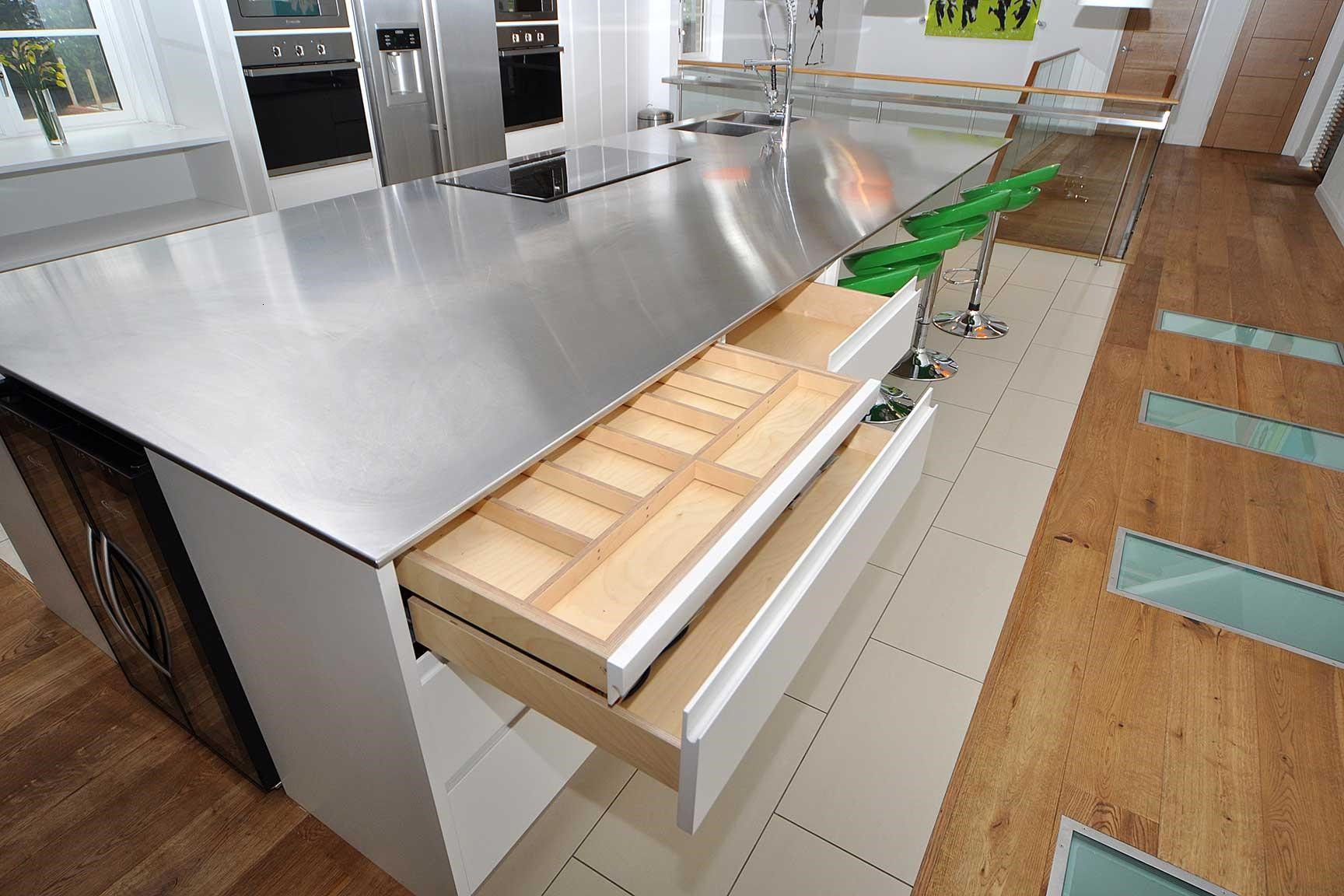 Kitchen Countertop Types, Design Options, and Usage Parameters. Matte steel topped furniture with calming white sides