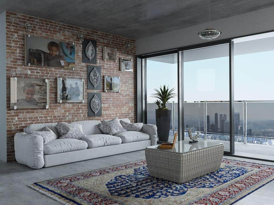How To Choose The Right Type Of Windows For Your Home. Panoramic windows for contemporary style living room with Persian rug and solid coffee table