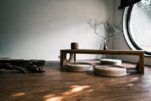 Home Interior Design Tips: How To Take Care Of Your Floor Restrained Oriental interior with wooden bench and small wooden mats