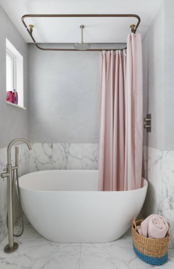 8 Beautiful Ways to Improve Your Home. Eggshell bathtub for small bathroom with marble imitating tiles and gray painted walls