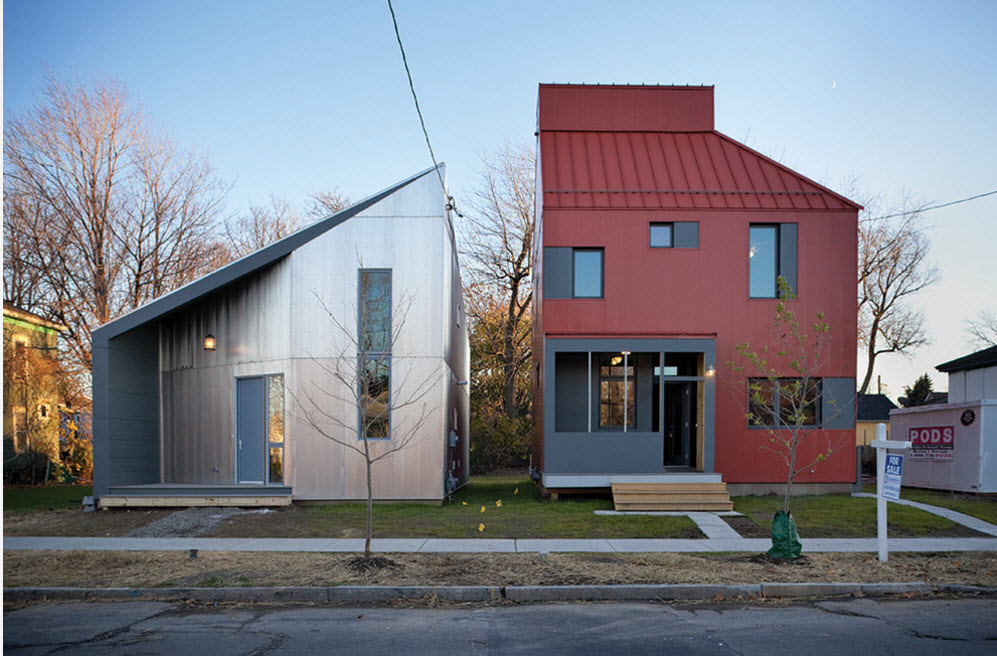 High-tech Style Houses: Fresh Ideas for Individual Projects. Red and white mirroring houses