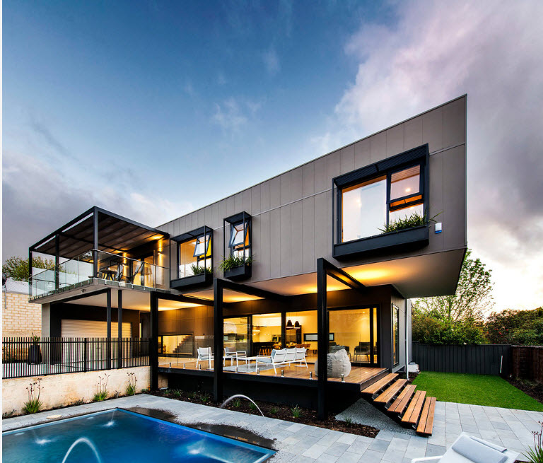 Protruding windows with black frames