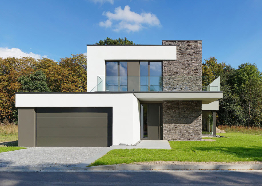 Gray and white comination of the facade colors for modern house with garage and an open terrace on the second level