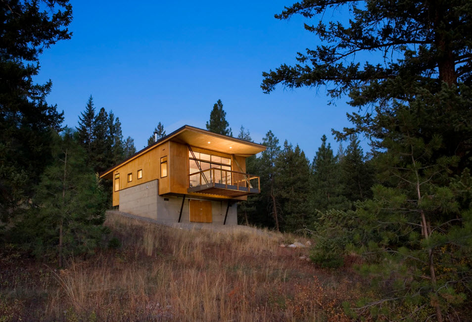 High-tech cottage on the slope with wooden imitating exterior materials