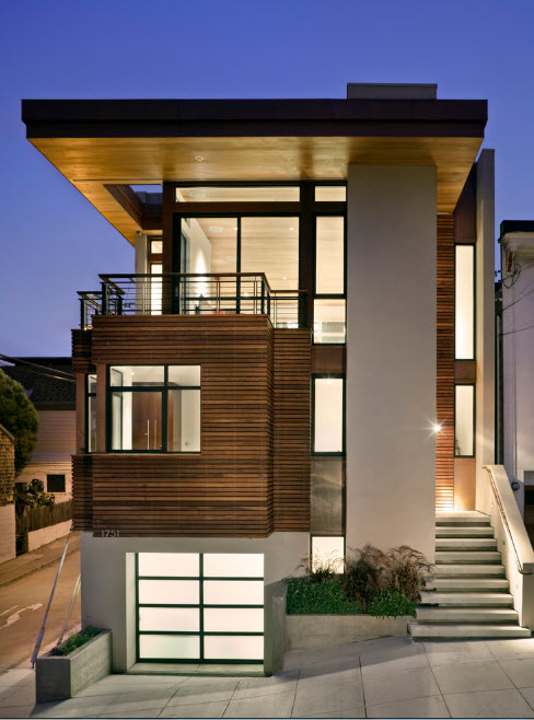 High-tech Style Houses: Fresh Ideas for Individual Projects. Great exterior materials combination with white panit and darkwood