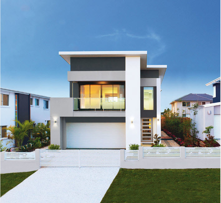 White concrete and gray paint for flat surfaced and strict lined high-tech house at the street