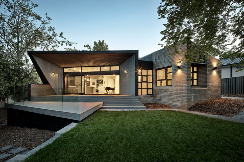Boxed exterior design with wooden ceiling finishing