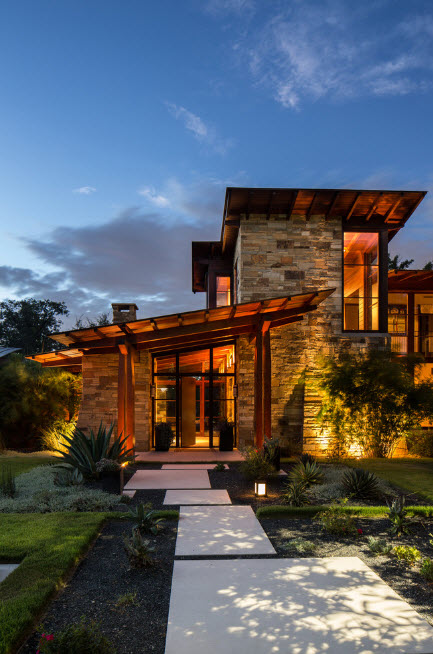 Stone siding for a great high-tech design of the smart house with complex lignthing